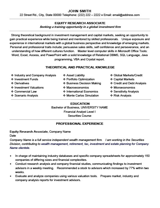 resume for equity - Doritmercatodos