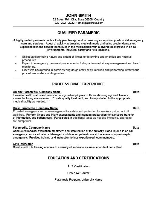 Qualified Paramedic Resume Template Premium Resume Samples  Example