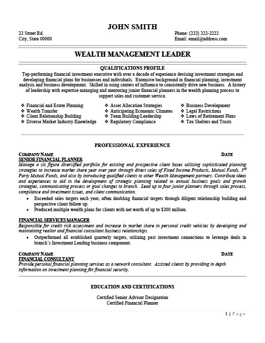 Wealth Management Leader Resume Template Premium Resume Samples - leadership resume