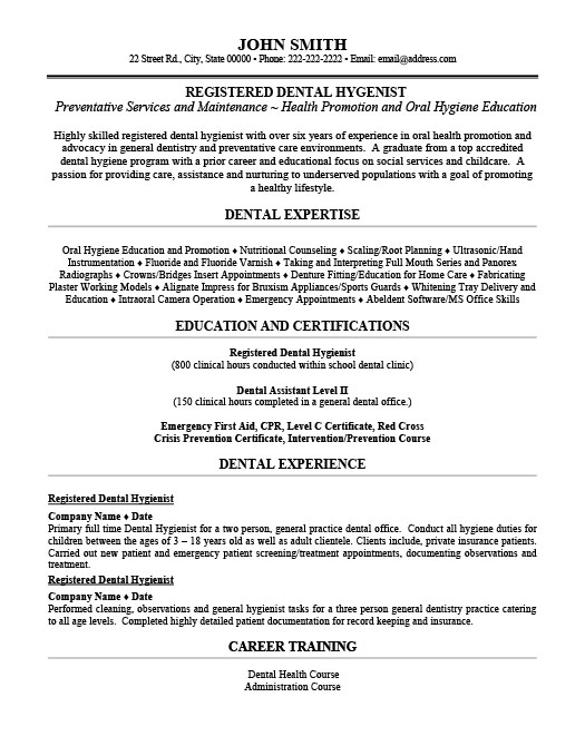 Registered Dental Hygienist Resume Template Premium Resume Samples - Dental Hygienist Resume