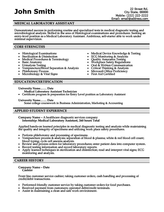 Medical Laboratory Assistant Resume Template Premium Resume
