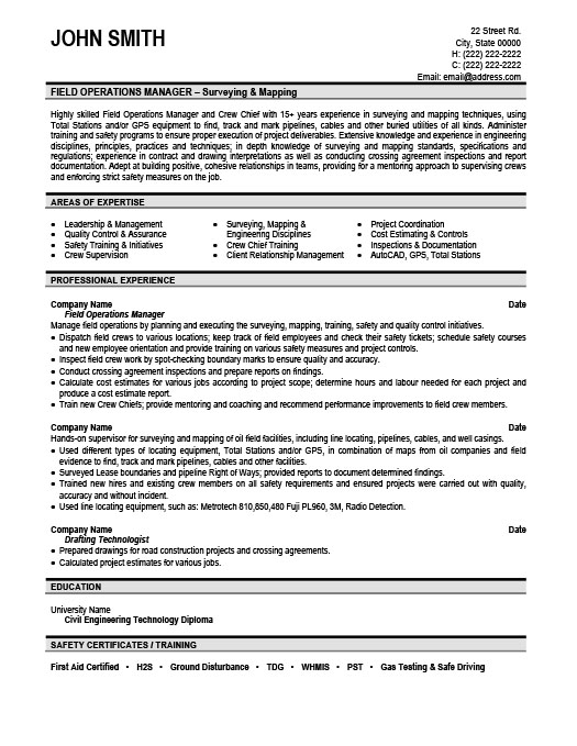 Field Operations Manager Resume Template Premium Resume Samples - operations management resume