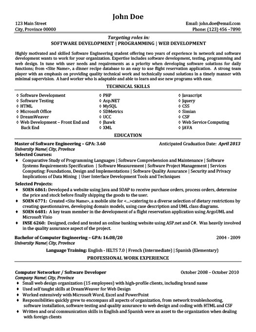 Software Development Programming Web Development Resume Template - Web Development Resume