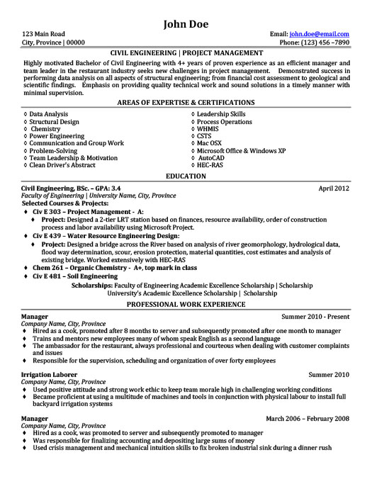 Civil Engineering Project Management Resume Template Premium - engineering project manager resume