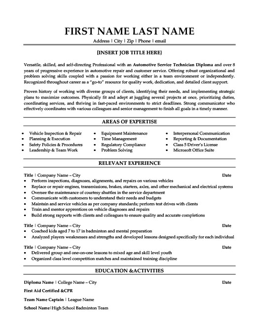 Automotive Service Technician Resume Template Premium Resume