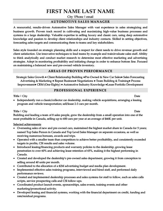 Automotive Sales Manager Resume automotive sales manager resume - Car Sales Resume