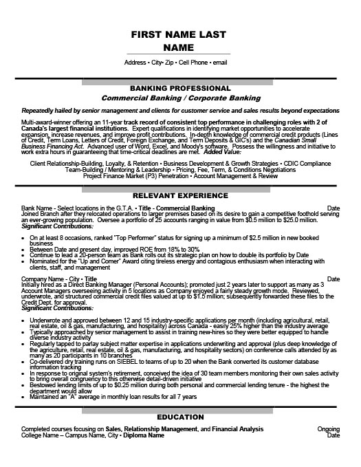 Commercial Banking - Corporate Banking Resume Template Premium