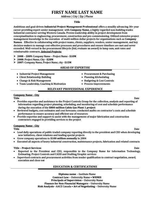 Project Management - Consultant Resume Template Premium Resume - management consulting resume sample