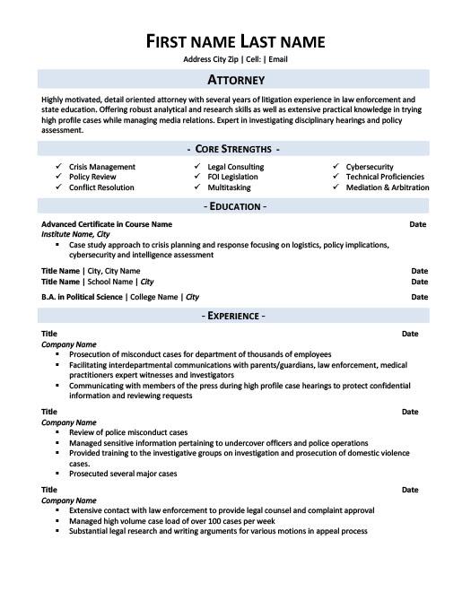Attorney Resume Template Premium Resume Samples  Example