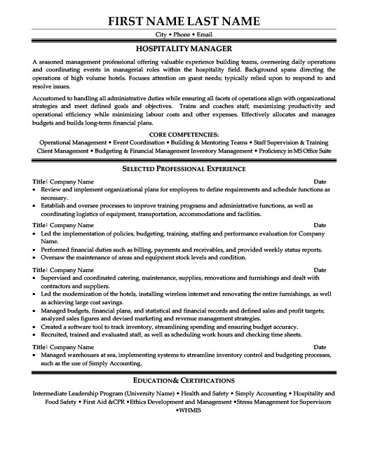 Hospitality Manager Resume Template Premium Resume Samples  Example