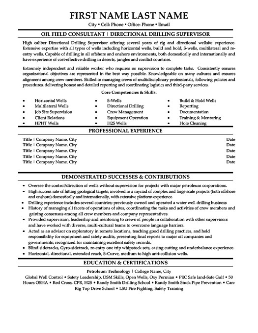 Directional Drilling Supervisor Resume Template Premium Resume