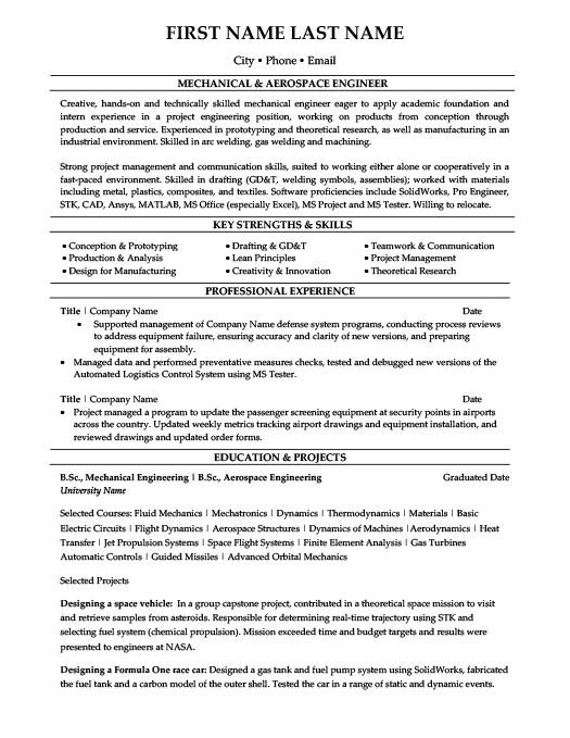 General Resume Templates - nasa aerospace engineer sample resume