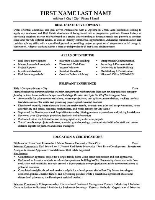 Real Estate Resume Templates, Samples  Examples Resume Templates 101