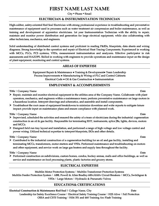 Electrician  Instrumentation Technician Resume Template Premium - protection and controls engineer sample resume