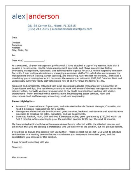 Cover Letter Example for Hospitality Manager