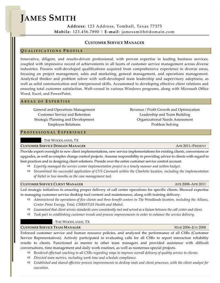Sample Civilian and Federal Resumes - Resume Valley - sample resume customer service manager