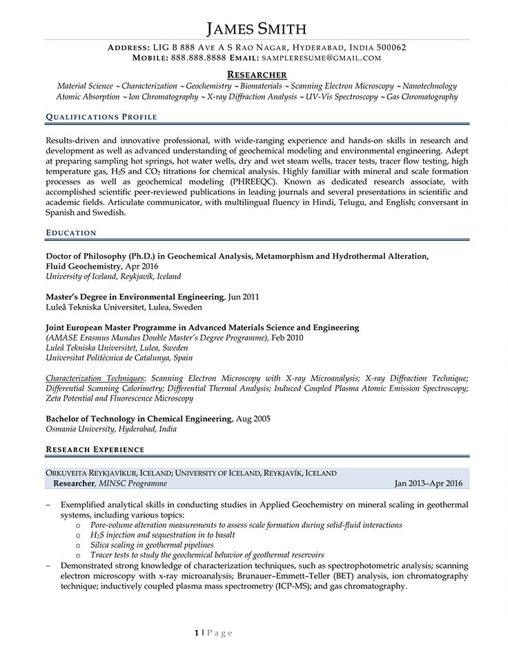 Sample Civilian and Federal Resumes - Resume Valley - image researcher sample resume
