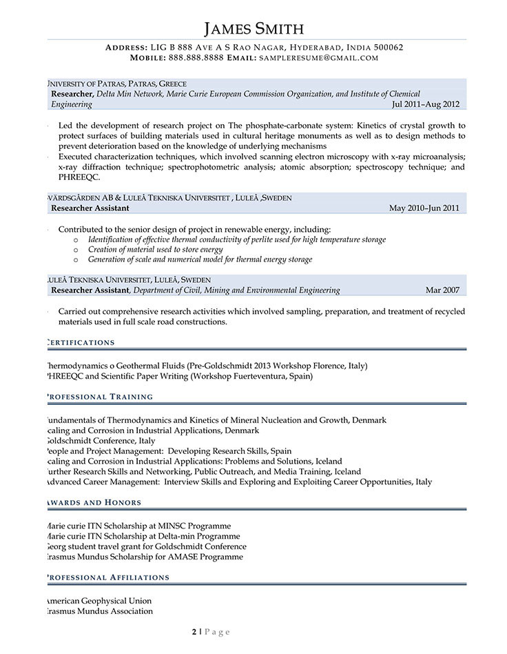 Sample Civilian and Federal Resumes - Resume Valley - Grant Researcher Sample Resume