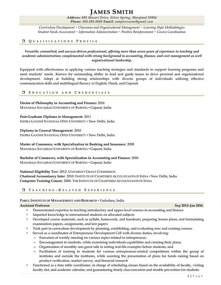 Sample Civilian and Federal Resumes - Resume Valley - How To Write A Vitae Resume