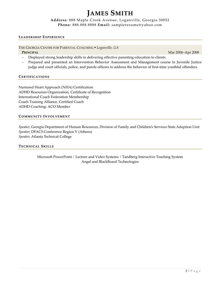 Sample Civilian and Federal Resumes - Resume Valley - technology coach sample resume