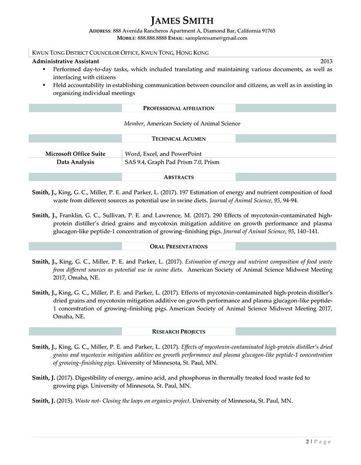 Sample Civilian and Federal Resumes - Resume Valley - animal specialist sample resume