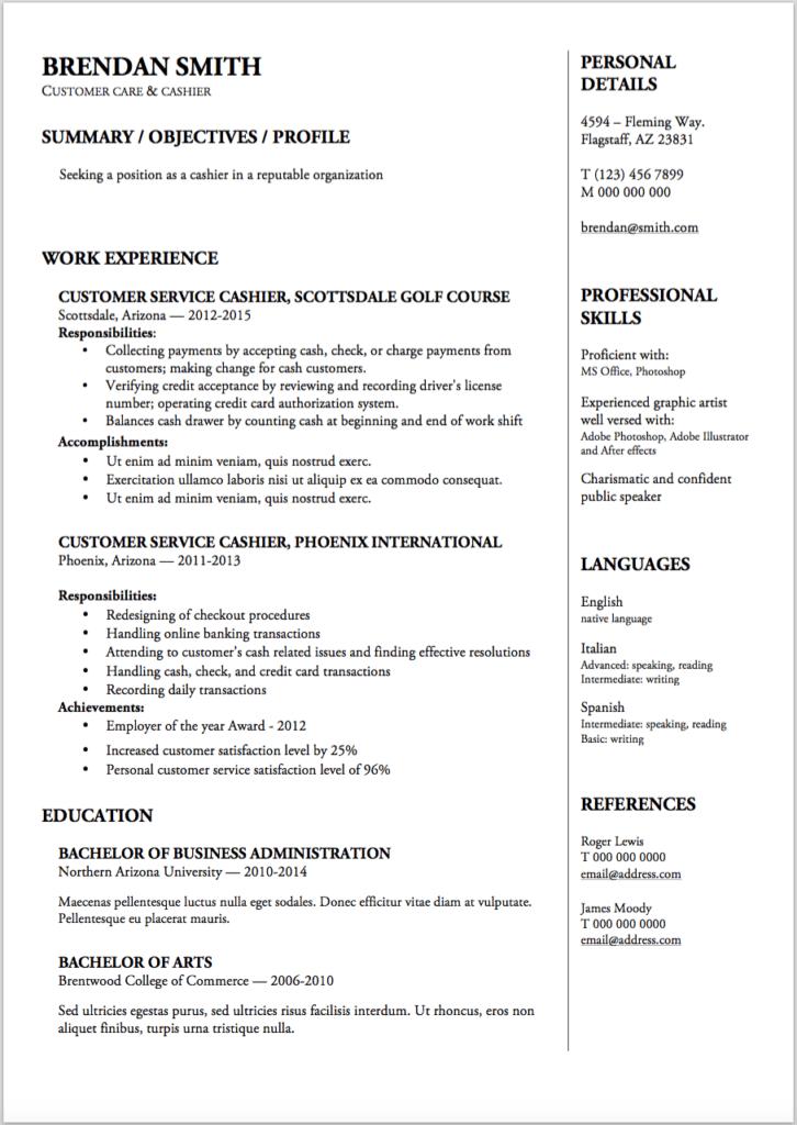 free edgy resume templates