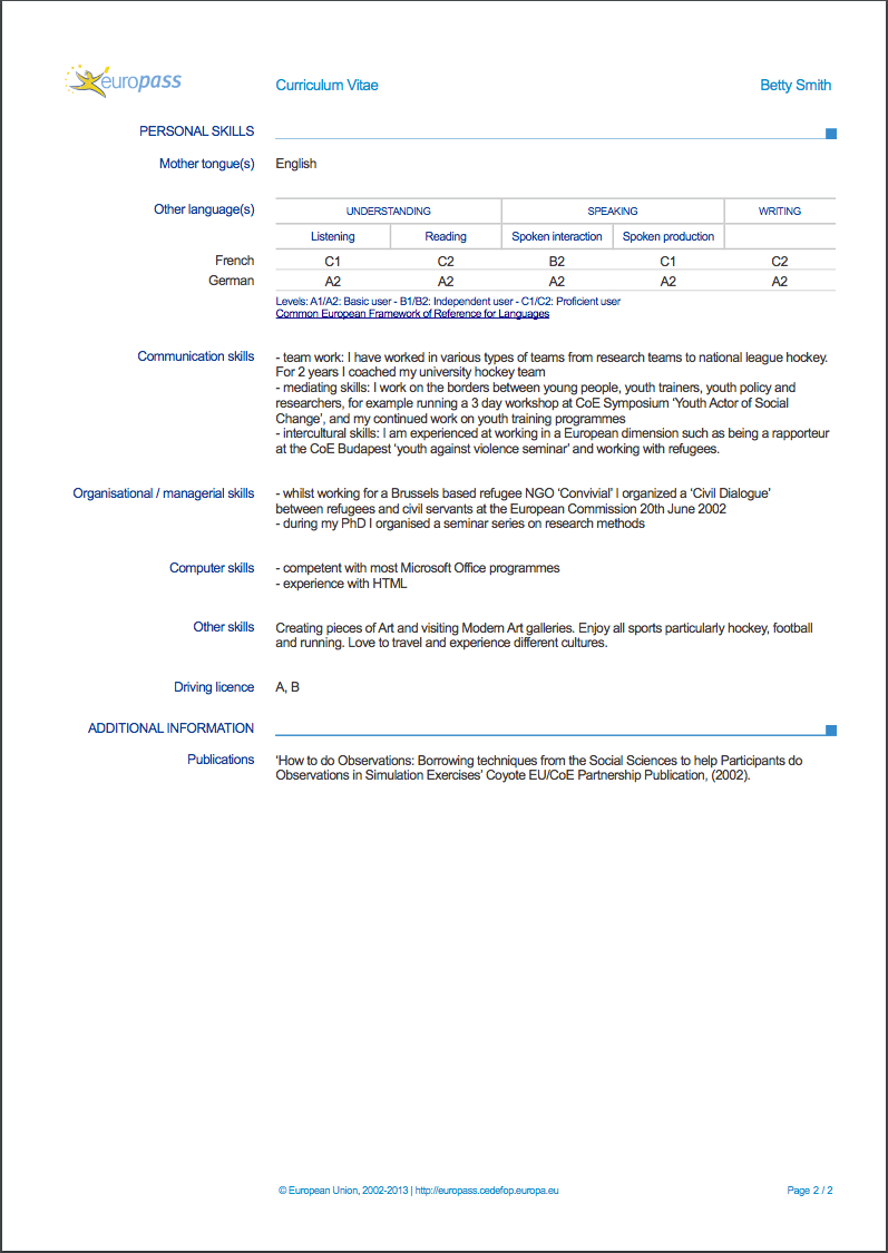 communication skills cv examples europass
