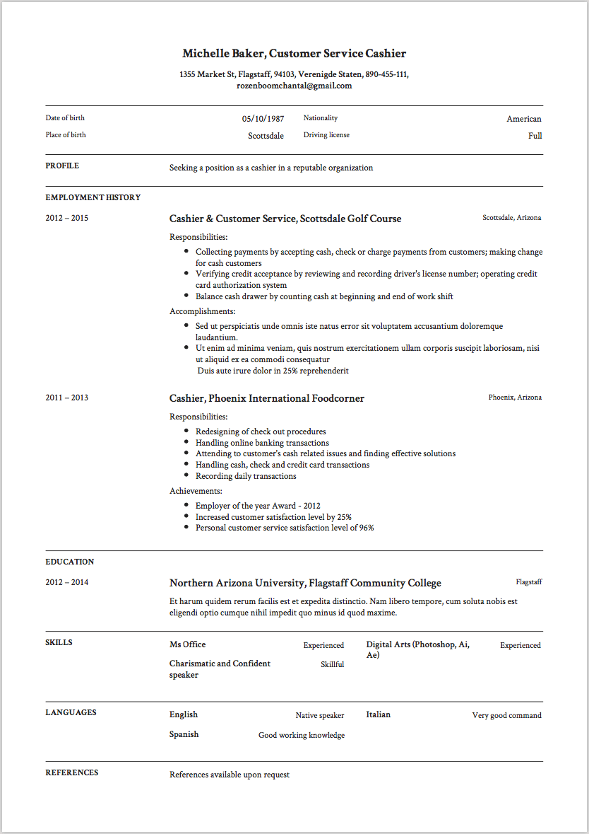 resume qualifications cashier