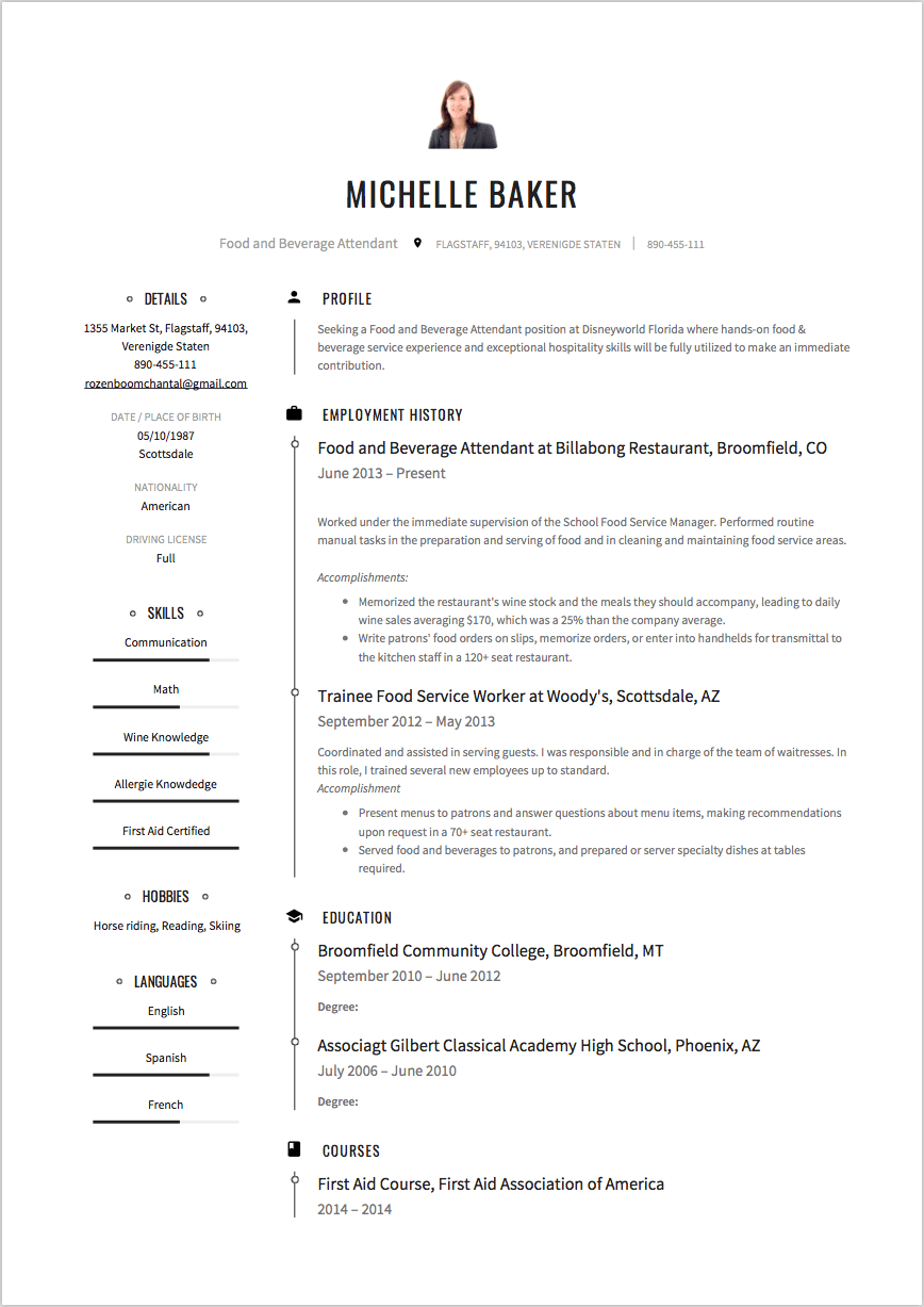 sample resume with no experience from food job