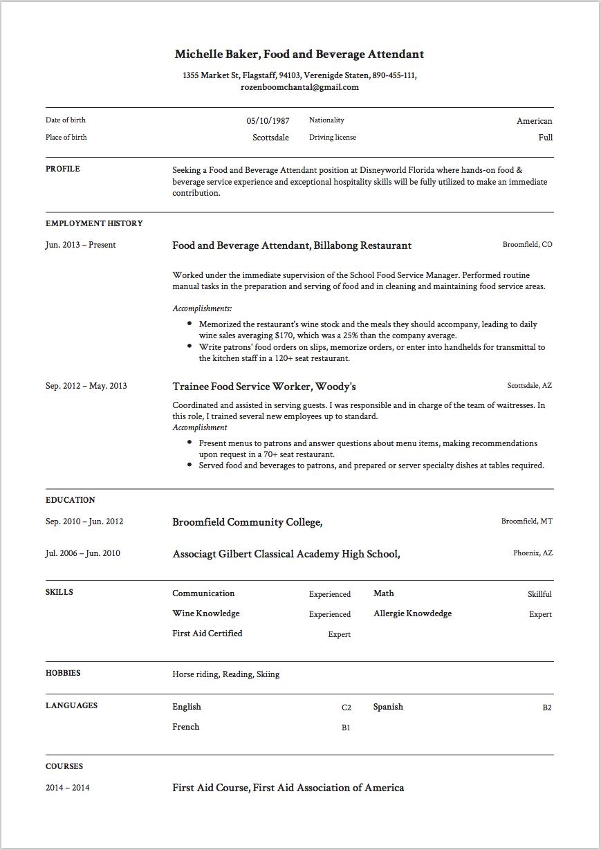 reddit resume restaurant