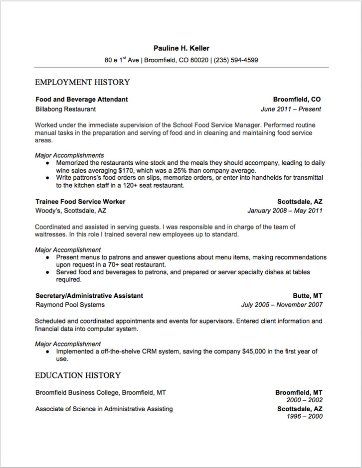 7 Food and Beverage Attendant Resume Sample(s) - 2018 (Free Downloads) - Food And Beverage Attendant Sample Resume