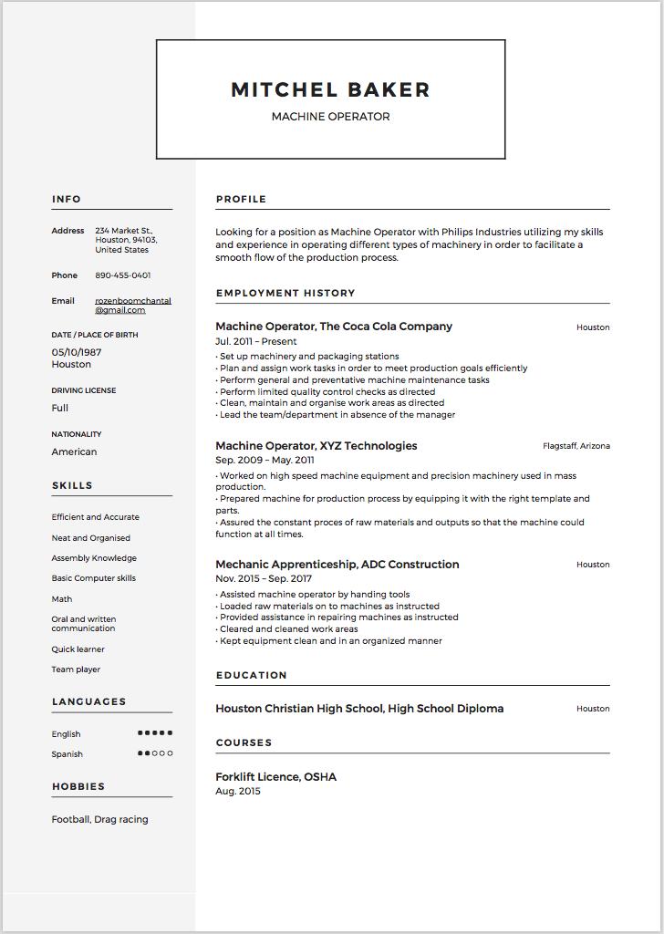 resume samples machine operator