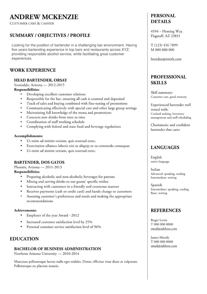 resume examples for a bartender