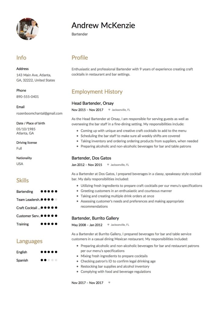 12 Bartender Resume Sample(s) - 2018 (Free Downloads) - sample resume for bartender