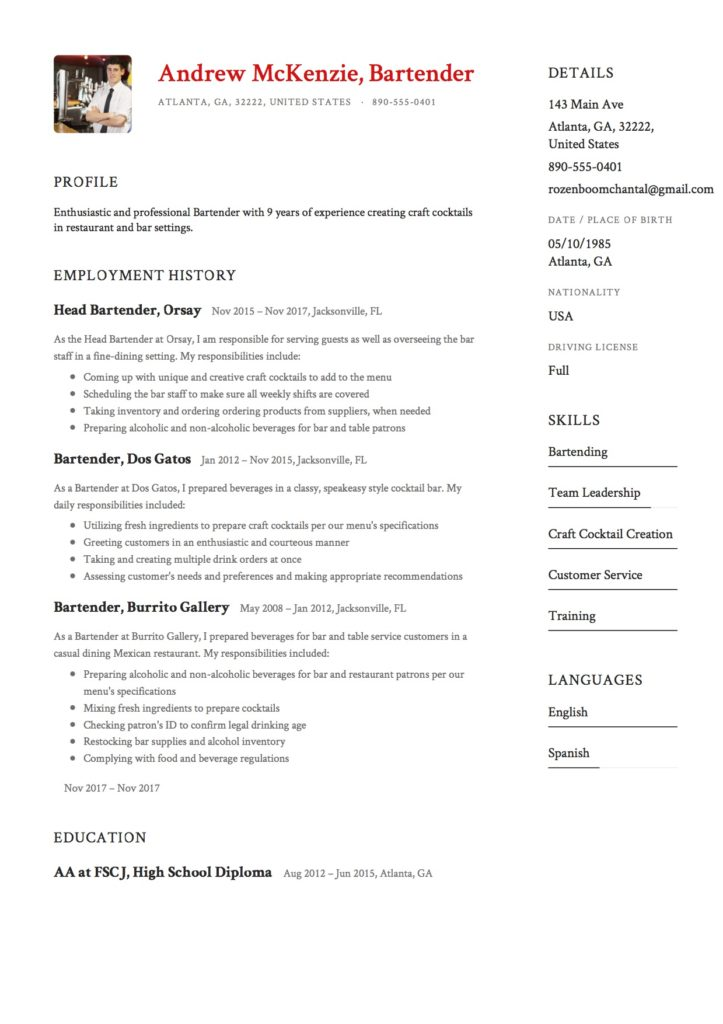 12 Bartender Resume Sample(s) - 2018 (Free Downloads) - bartender resume format