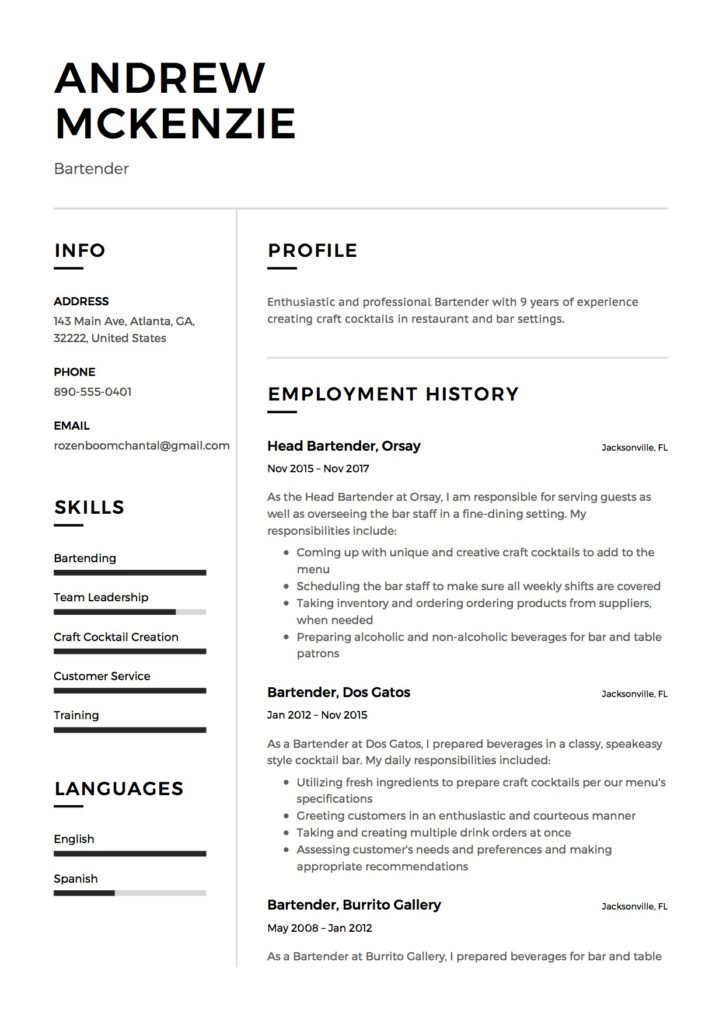 12 Bartender Resume Sample(s) - 2018 (Free Downloads) - Resume Creation