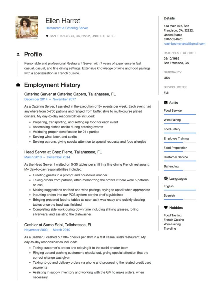 resume profile examples server
