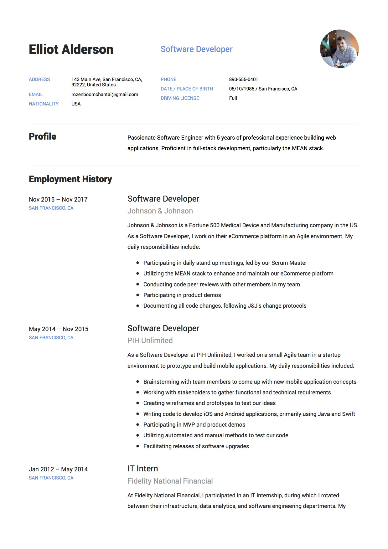 software developer internship resume sample