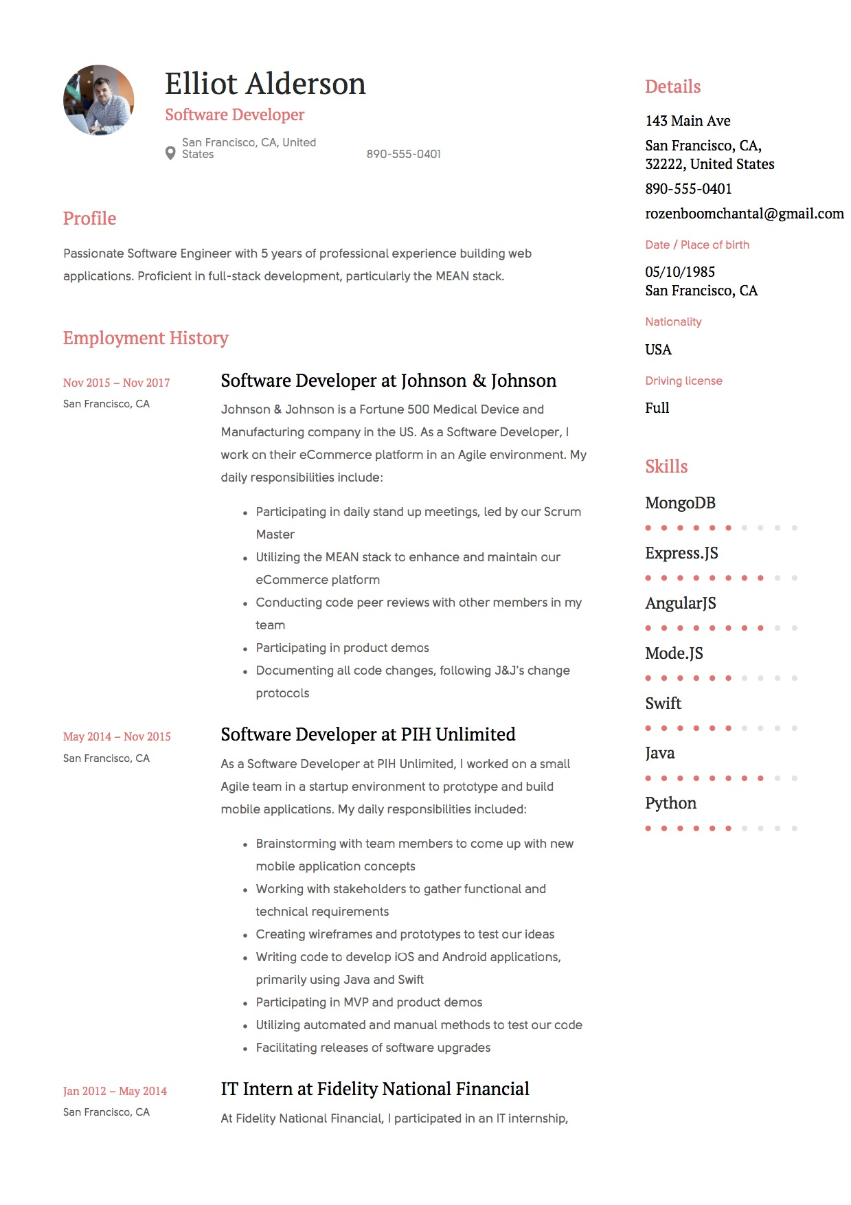 software developer resume examples 2018