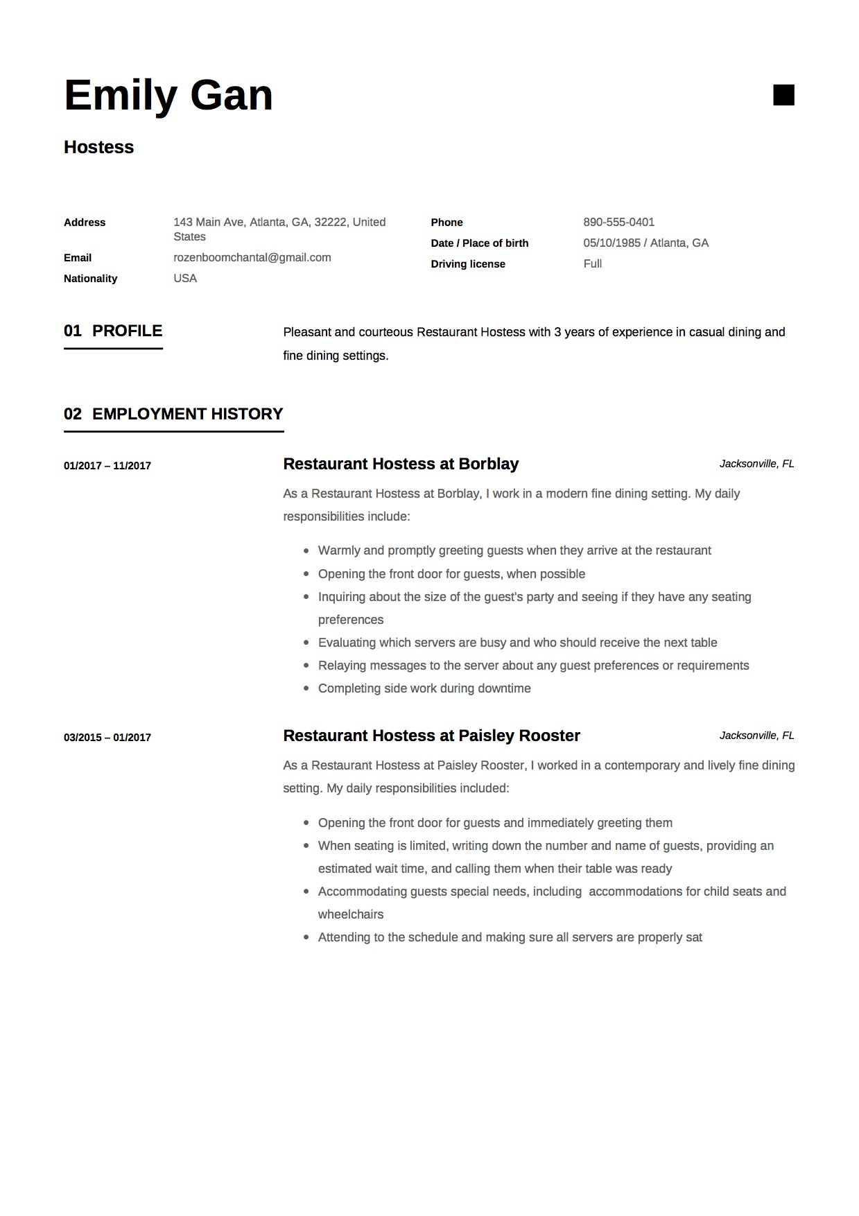hostess description on resume