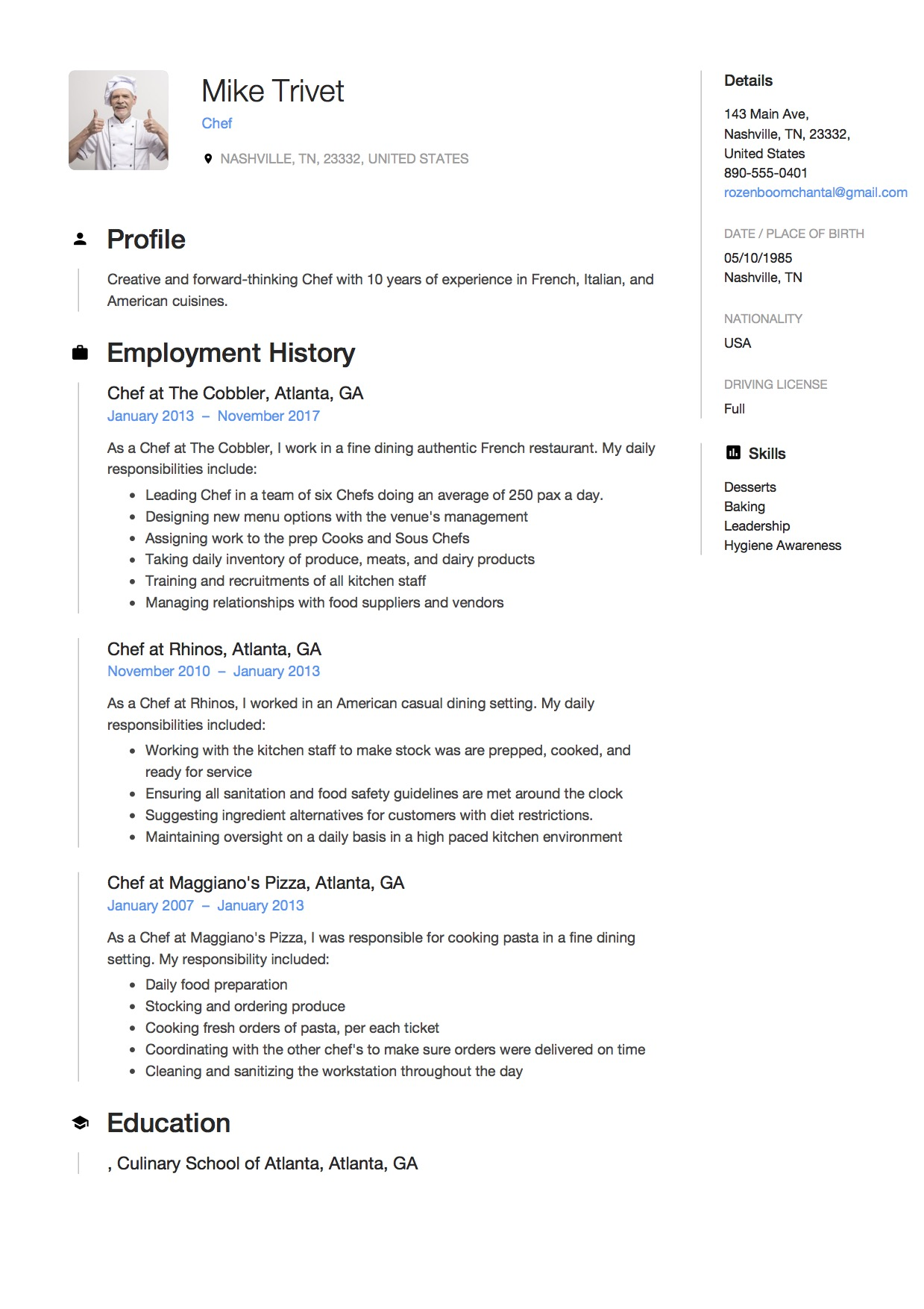 free sous chef resume samples