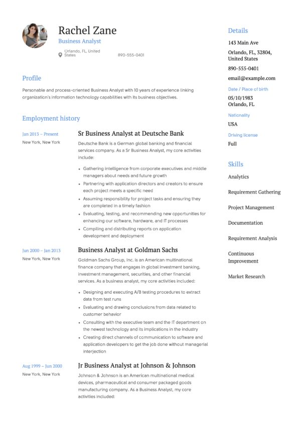 resume samples business analysts