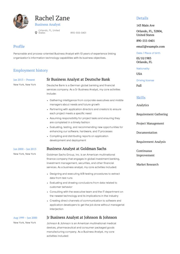 Banking Business Analyst Sample Resume