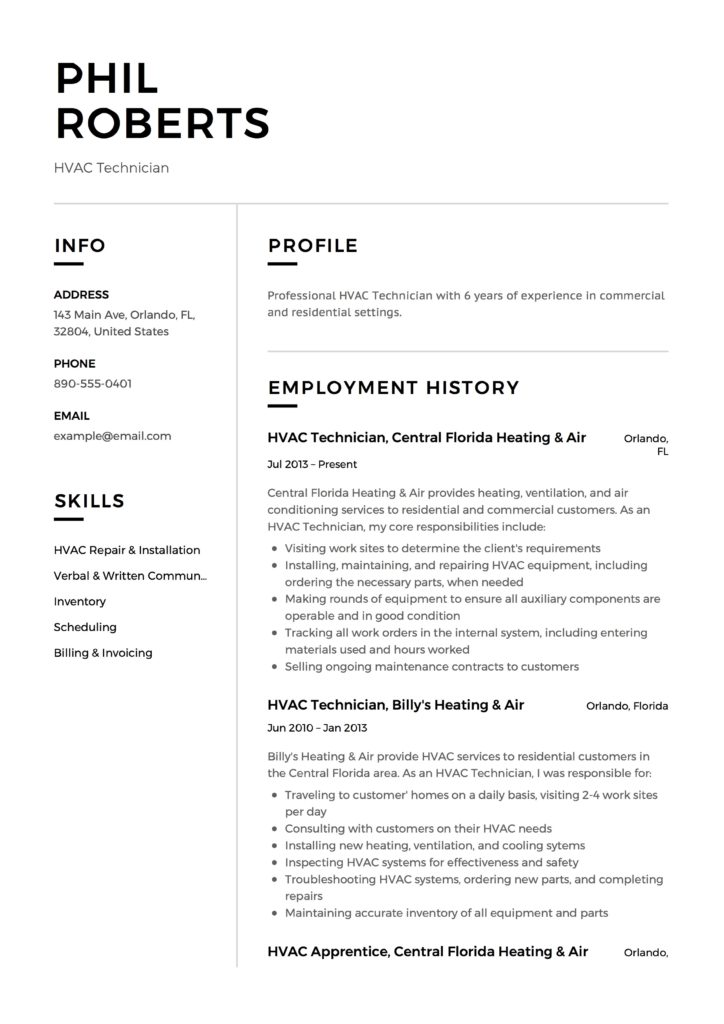 HVAC Technician Resume Resume  + 12 Samples  PDF  Word 2019