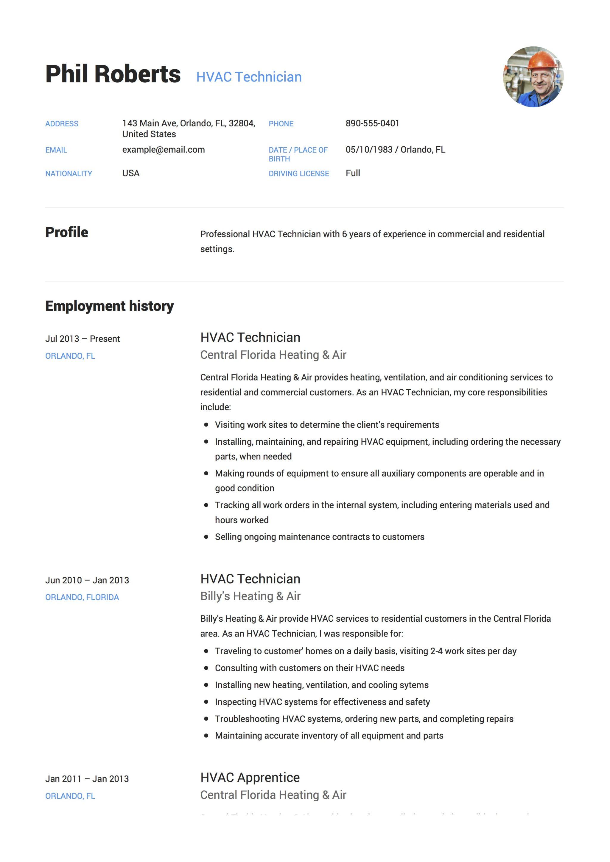 hvac resume sample download