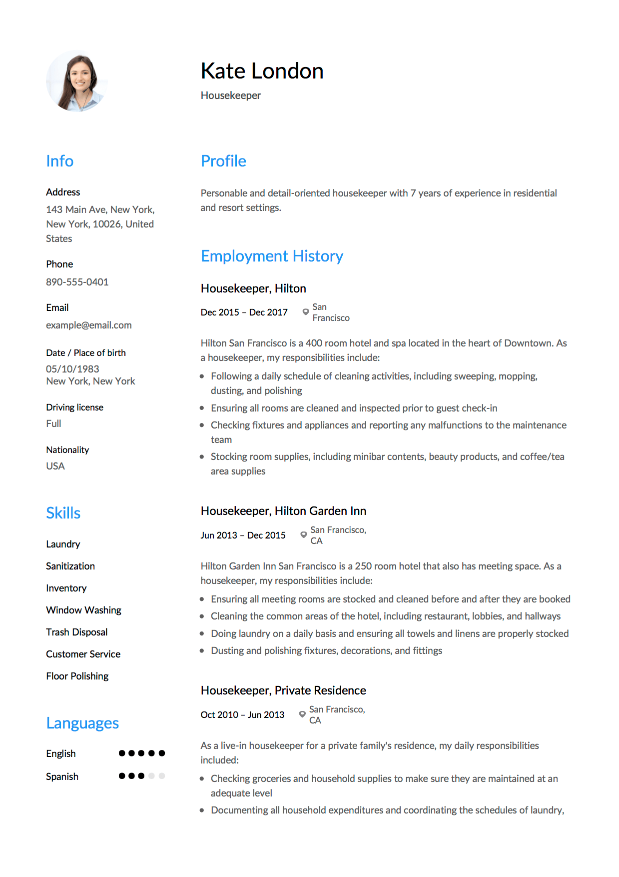 resume sample skill