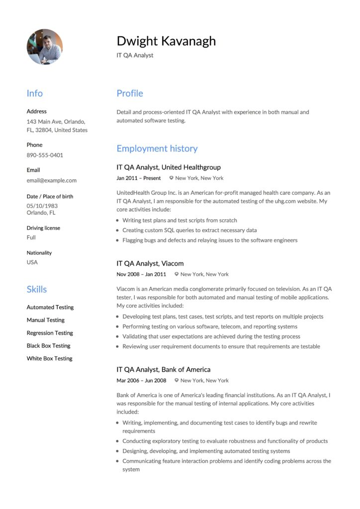 Guide IT QA Analyst Resume +12 Samples  Examples PDF 2019