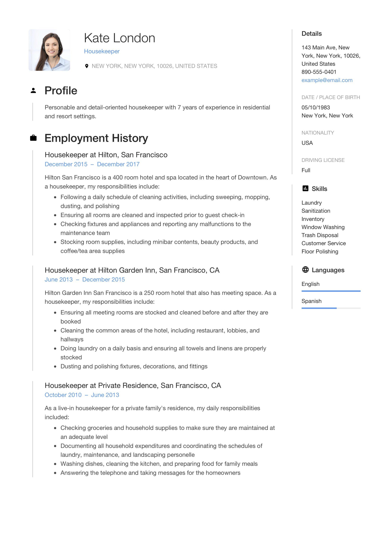 house keeper resume