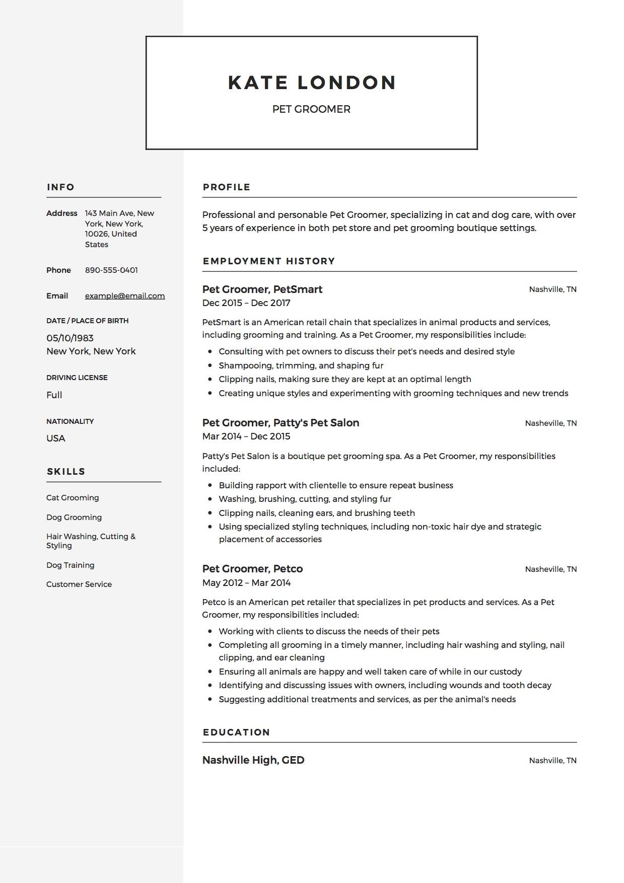 pet grooming resume samples