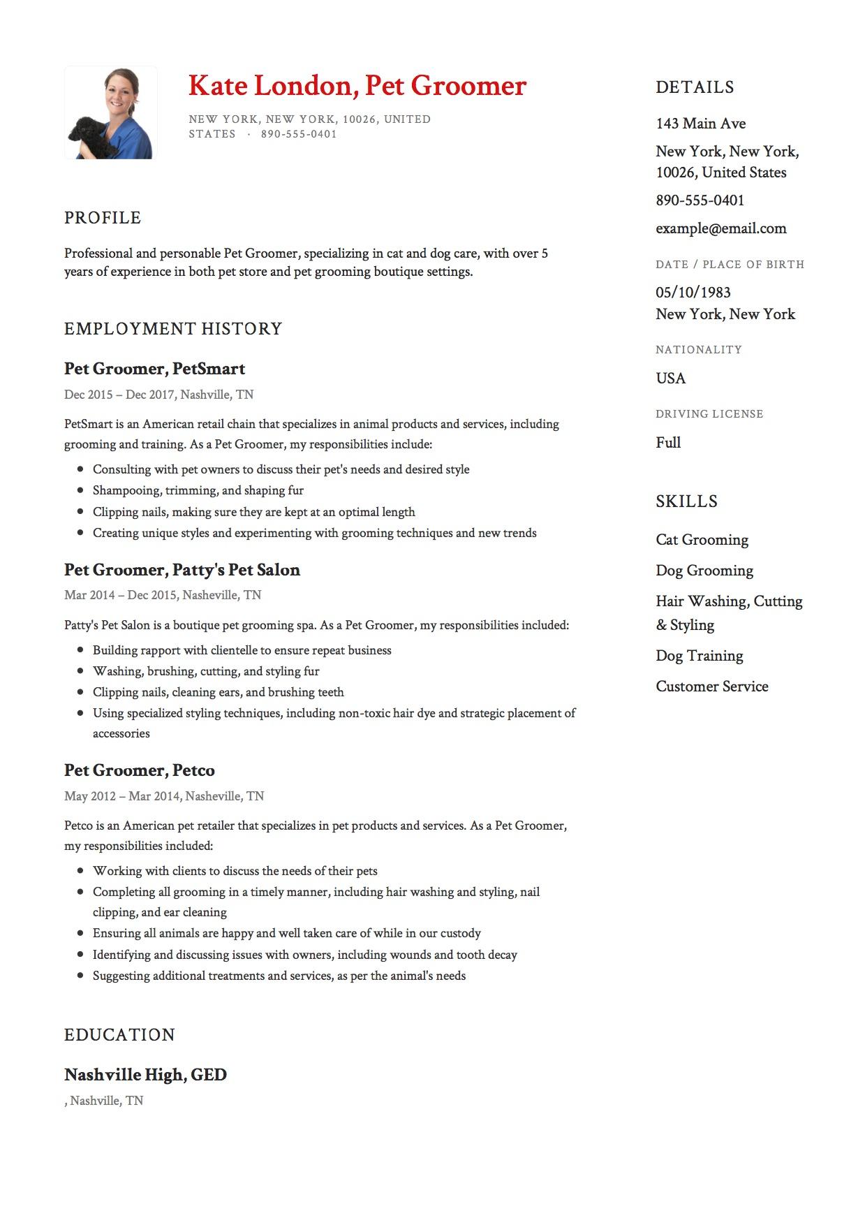 grooming resume sample